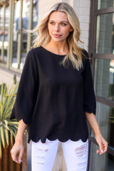 Scalloped Open Back Blouse in Black Front View