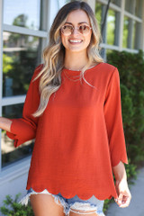 Scalloped Open Back Blouse in Rust