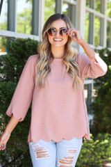 Scalloped Open Back Blouse in Blush Front View