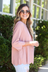 Scalloped Open Back Blouse in Blush Side View