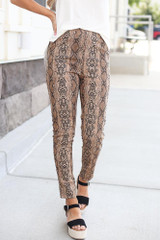 Taupe - Snakeskin Microsuede Pants from Dress Up