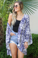 Model Wearing the Ivory Bell Sleeve Printed Kimono Off the Shoulder