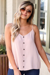 Mauve - Textured Button Up Tank