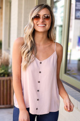 Model wearing the Textured Button Up Tank with dark wash jeans