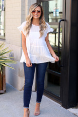 White - Swiss Dot Tiered Top from Dress Up Boutique