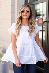 White - Swiss Dot Tiered Top