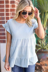Sage - Swiss Dot Tiered Top from Dress Up