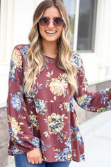 Wine - Floral Balloon Sleeve Babydoll Top from Dress Up Boutique