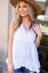 Model wearing the Lace Tie-Back Tank in White Front View