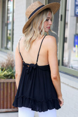 Model wearing the Lace Tie-Back Tank in Black Back View