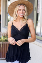 Model wearing the Lace Tie-Back Tank in Black Front View