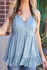 Sage - Lace Tie-Back Tank from online dress boutique