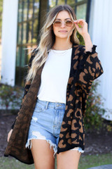 Black - Luxe Knit Leopard Ruffle Cardigan from Dress Up