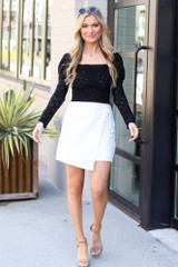 Model wearing the White Envelope Skirt with cute crop tops from Dress Up