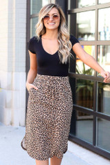 Model wearing the Leopard Midi Skirt with black bodysuit Front View