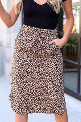 Model wearing the Leopard Midi Skirt with black bodysuit Close Up Front View
