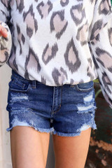 Medium Wash - High-Waisted Distressed Denim Shorts