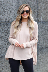 Taupe - Model wearing the Oversized Tiered Back Top