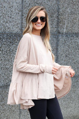 Taupe - Model wearing the Oversized Tiered Back Top Side View