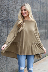 Olive - Oversized Tiered Back Top