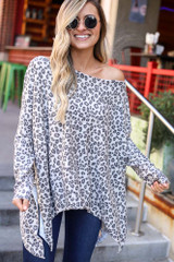 Ivory - Leopard Print Oversized Top from Dress Up