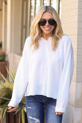 White - Ribbed Knit Oversized Top from Dress Up