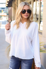 Ribbed Knit Oversized Top in White front View