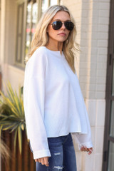 Ribbed Knit Oversized Top in White Side View