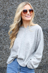 Heather Grey - Ribbed Knit Oversized Top