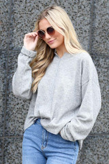 Ribbed Knit Oversized Top in Heather Grey on Model