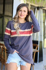 Charcoal - Oversized Striped Tee from online dress boutique