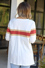 Model from DresS Up Boutique wearing the Oversized Striped Tee in White Back View