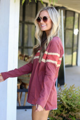 Model wearing the Oversized Striped Tee in Marsala from Dress Up Side View