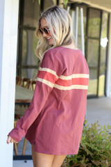 Model wearing the Oversized Striped Tee in Marsala from Dress Up Boutique Back View