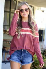 Marsala - Oversized Striped Tee from Dress Up Boutique