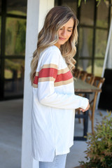 Model wearing the Oversized Striped Tee inWhite from Dress Up Boutique Side View
