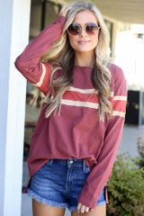 Model from Dress Up wearing the Oversized Striped Tee in Marsala