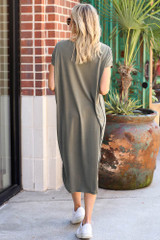 Jersey Knit Midi Dress in Olive Back View