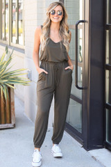Jersey Knit Jumpsuit in Olive on model
