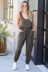 Jersey Knit Jumpsuit in Olive Front view