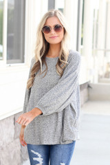 Model wearing the Oversized Brushed Knit Top in Grey Side View