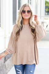 Taupe - Oversized Brushed Knit Top from Dress Up