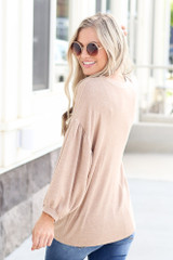 Model wearing the Oversized Brushed Knit Top in Taupe Back View