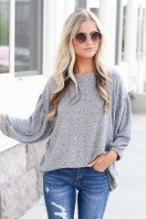 Heather Grey - Oversized Brushed Knit Top from Dress Up