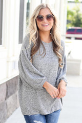 Model wearing the Oversized Brushed Knit Top in Grey Front View