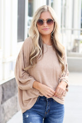 Model wearing the Oversized Brushed Knit Top in Taupe Front View