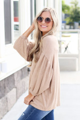Model wearing the Oversized Brushed Knit Top in Taupe Side View