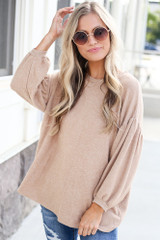 Taupe - Oversized Brushed Knit Top