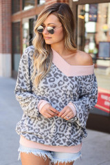 Grey - Leopard Brushed Knit Oversized Top from Dress Up