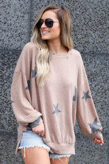 Star Brushed Knit Oversized Pullover from Dress Up boutique